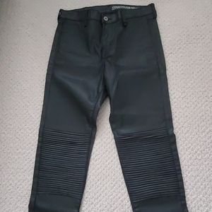 H&M Black Coated Biker Skinny Ankle Jeans Pants 27